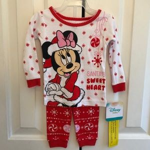 NWT Disney Minnie Mouse Christmas Pajamas Girls 9m